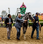 ELMONT, NY - JUNE 09: Irad Ortiz Jr., celebrates his victory aboard #5, Disco Partner in the Jaipur Invitational Stakes on on Belmont Stakes Day at Belmont Park on June 9, 2018 in Elmont, New York. (Photo by Sue Kawczynski/Eclipse Sportswire/Getty Images)