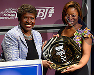 "January 26, 2012  (Washington, DC)  PBS ""Washington Week"" host Gwen Ifill is inducted to the 2012 National Association of Black Journalists (NABJ) Hall of Fame at the Newseum in Washington.  (Photo by Don Baxter/Media Images International)"