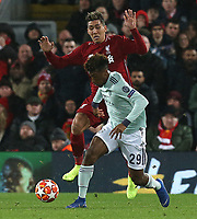 Bayern Munich's Kingsley Coman under pressure from Liverpool's Roberto Firmino<br /> <br /> Photographer Rich Linley/CameraSport<br /> <br /> UEFA Champions League Round of 16 First Leg - Liverpool and Bayern Munich - Tuesday 19th February 2019 - Anfield - Liverpool<br />  <br /> World Copyright © 2018 CameraSport. All rights reserved. 43 Linden Ave. Countesthorpe. Leicester. England. LE8 5PG - Tel: +44 (0) 116 277 4147 - admin@camerasport.com - www.camerasport.com