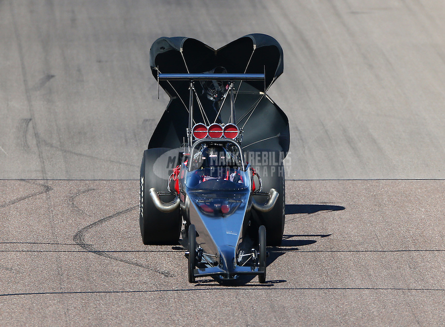 Feb 28, 2016; Chandler, AZ, USA; NHRA top dragster driver XXXX during the Carquest Nationals at Wild Horse Pass Motorsports Park. Mandatory Credit: Mark J. Rebilas-
