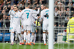 "Real Madrid Sergio Ramos, Nacho Fernandez, Francisco Roman ""Isco"", Marcos Llorente , Theo Hernandez and Gareth Bale celebrating a goal during La Liga match between Real Madrid and Getafe CF  at Santiago Bernabeu Stadium in Madrid , Spain. March 03, 2018. (ALTERPHOTOS/Borja B.Hojas)"