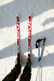 USA, Utah, Midway, Soldier Hollow, learning how to biathlon, detail of skiis, boots and poles