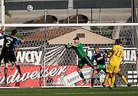 Joe Cannon protects the goal. The San Jose Earthquakes tied the Columbus Crew 2-2 at Buck Shaw Stadium in Santa Clara, California on June 2nd, 2010.