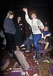 Fans Big Country on tour Scotland, smashed up theatre seats. 1980s