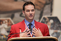 2004 National Soccer Hall of Fame inductee Eric Wynalda gives his acceptance speech during the induction ceremony on Monday October 11, 2004 at the National Soccer Hall of Fame and Museum, Oneonta, NY..