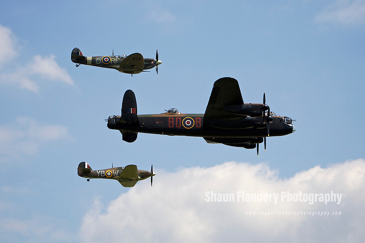 Pix: Shaun Flannery/shaunflanneryphotography.com...COPYRIGHT PICTURE>>SHAUN FLANNERY>01302-570814>>07778315553>>..2nd July 2011....................RAF Waddington International Airshow..The Battle of Britain Memorial Flight..Spitfire, Lancaster Bomber, Hurricane.