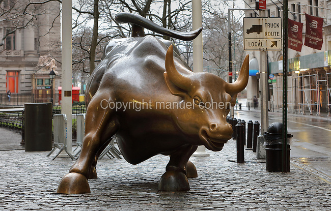 Charging Bull, a guerrilla art bronze sculpture installed unofficially by Arturo Di Monica in 1989, symbolising strength in adversity, in Bowling Green in the Financial District, Manhattan, New York, New York, USA. Picture by Manuel Cohen
