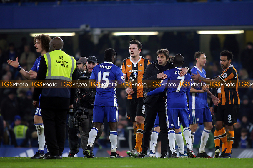 Chelsea Manager, Antonio Conte, celebrates their victory at the final whistle with N'Golo Kante during Chelsea vs Hull City, Premier League Football at Stamford Bridge on 22nd January 2017