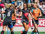 AMSTELVEEN  -  Yasmin Geerlings (A'dam) heeft gescoord.  Hoofdklasse hockey dames ,competitie, dames, Amsterdam-Groningen (9-0) .     COPYRIGHT KOEN SUYK