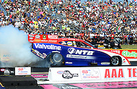 Sept. 22, 2012; Ennis, TX, USA: NHRA funny car driver Johnny Gray during qualifying for the Fall Nationals at the Texas Motorplex. Mandatory Credit: Mark J. Rebilas-