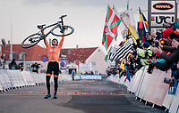An emotional Mathieu Van Der Poel (NED/Correndon-Circus) crosses the finish line victoriously<br /> <br /> Men&rsquo;s Elite race<br /> <br /> UCI 2019 Cyclocross World Championships<br /> Bogense / Denmark<br /> <br /> &copy;kramon