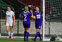 20190920 – LEUVEN, BELGIUM : RSC Anderlecht's Tine De Caigny (6) is celebrating her second goal with Michelle Colson (2) and OHL's defender is Hannalore Van Poppel is looking dejected during a women soccer game between Dames Oud Heverlee Leuven A and RSC Anderlecht Ladies on the fourth matchday of the Belgian Superleague season 2019-2020 , the Belgian women's football  top division , friday 20 th September 2019 at the Stadion Oud-Heverlee Korbeekdam in Oud Heverlee  , Belgium  .  PHOTO SPORTPIX.BE   SEVIL OKTEM