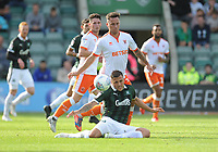 Plymouth Argyle's Antoni Sarcevic is fouled by Blackpool's John O'Sullivan<br /> <br /> Photographer Kevin Barnes/CameraSport<br /> <br /> The EFL Sky Bet League One - Plymouth Argyle v Blackpool - Saturday 15th September 2018 - Home Park - Plymouth<br /> <br /> World Copyright &copy; 2018 CameraSport. All rights reserved. 43 Linden Ave. Countesthorpe. Leicester. England. LE8 5PG - Tel: +44 (0) 116 277 4147 - admin@camerasport.com - www.camerasport.com