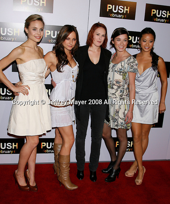 "WESTWOOD, CA. - January 29: Actress Rumer Willis (C) and Sorority Row cast members arrive at the Los Angeles Premiere of ""Push"" at the Mann Village Theater on January 29, 2009 in Westwood, California."
