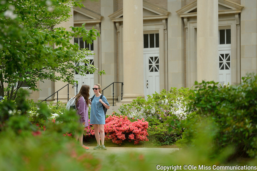 Ole Miss students meet and talk in front of Fulton Chapel.  Photo by Kevin Bain/Ole Miss Communications