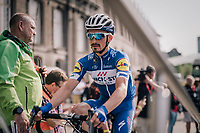 Julian Alaphilippe (FRA/Quick Step Floors) at the pre-race sign-on<br /> <br /> 104th Li&egrave;ge - Bastogne - Li&egrave;ge 2018 (1.UWT)<br /> 1 Day Race: Li&egrave;ge - Ans (258km)