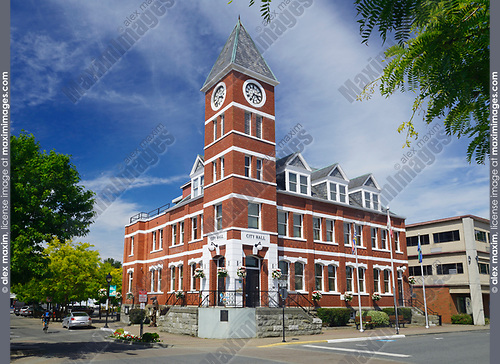 City Hall building in downtown Duncan, Cowichan Valley, Vancouver Island, British Columbia, Canada 2017.