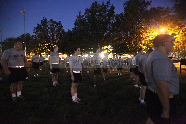 The UK Army Rotc trains on Wednesday morning in the Johnson Center Field in preparation for their relay of the  game ball for Saturdays football game to Shelbyville, Ky  Sept. 1, 2010. Photo by Britney McIntosh | Staff