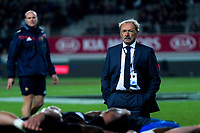 France head coach Jacques Brunel watches his forwards practise scrummaging before the Steinlager Series international rugby match between the New Zealand All Blacks and France at Eden Park in Auckland, New Zealand on Saturday, 9 June 2018. Photo: Dave Lintott / lintottphoto.co.nz
