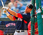 14 March 2009: Boston Red Sox' infielder Lars Anderson takes batting practice prior to a Spring Training game against the Baltimore Orioles at Fort Lauderdale Stadium in Fort Lauderdale, Florida. The Orioles defeated the Red Sox 9-8 in the Grapefruit League matchup. Mandatory Photo Credit: Ed Wolfstein Photo