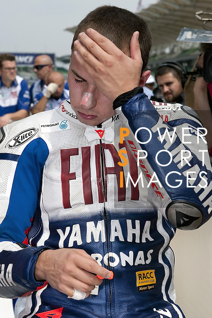KUALA LUMPUR, MALAYSIA - OCTOBER 24:  Jorge Lorenzo of Spain reacts at the end of qualifying for the Malaysian MotoGP, which is round 16 of the MotoGP World Championship at the Sepang Circuit on October 24, 2009 in Kuala Lumpur, Malaysia. Photo by Victor Fraile / The Power of Sport Images