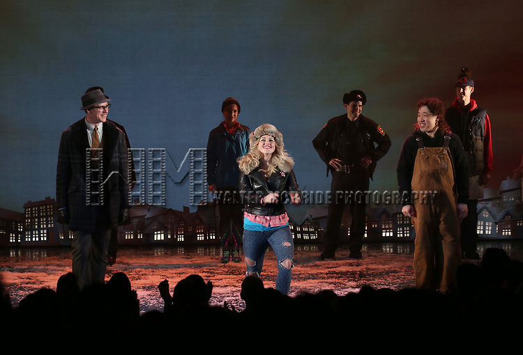 John Sanders, Rebecca Faulkenberry and Raymond J. Lee during the Broadway Opening Night Curtain Call Bows for 'Groundhog Day' at August Wilson Theatre on April 17, 2017 in New York City.