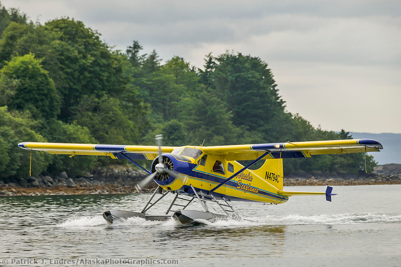 Float plane in Sitka Channel, Sitka, Alaska.