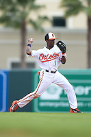 Baltimore Orioles second baseman Jemile Weeks (1) during a spring training game against the Philadelphia Phillies on March 7, 2014 at Ed Smith Stadium in Sarasota, Florida.  Baltimore defeated Philadelphia 15-4.  (Mike Janes/Four Seam Images)