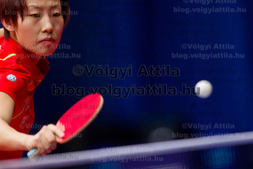 China's Wu Yang plays against Hungary's Szandra Pergel (not pictured) during the ITTF World Tour Hungarian Open in Budapest, Hungary on January 19, 2012..Wu Yang beat Szandra Pergel 4:0 during their match in the round of 64. ATTILA VOLGYI