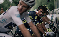Johan Esteban Chaves (COL/ORICA-Scott) warming up on the rollers ahead of the stage<br /> <br /> 104th Tour de France 2017<br /> Stage 9 - Nantua › Chambéry (181km)