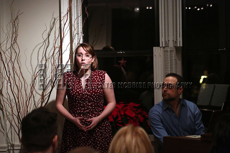 Caitlin Kinnunen and Matthew Sklar attend the Dramatists Guild Fund Salon with Matthew Sklar and Chad Beguelin at the home of Gretchen Cryer on December 8, 2016 in New York City.