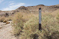 Rattlesnake warning sign, Rhyolite ghost town, Nevada