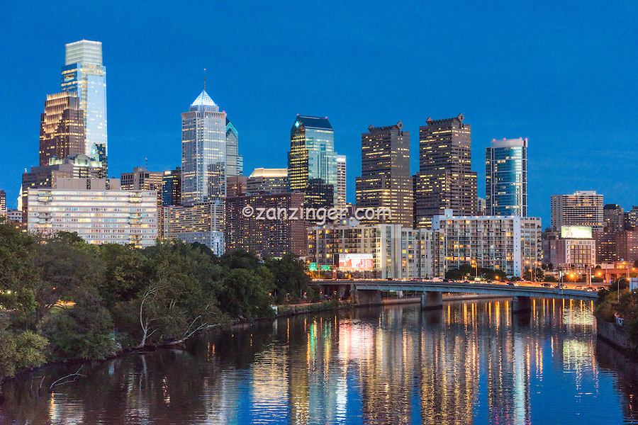 Schuylkill River, Buildings Lit, Dusk, Skyline, Reflections,  Night, Twilight, Philadelphia Pennsylvania, Phila. PA,