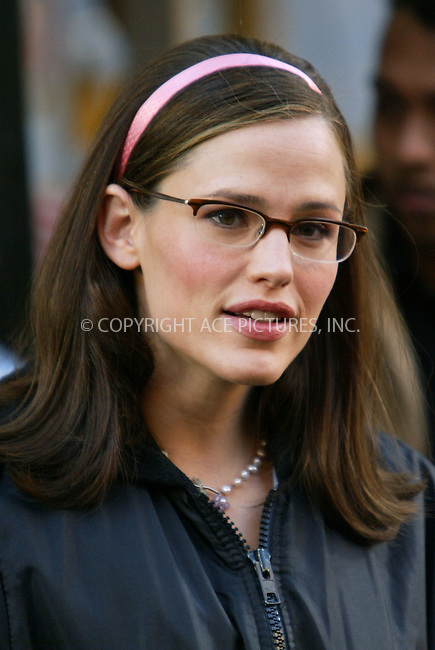 Jennifer Garner re-shooting some of the scenes for her upcoming movie, '13 Going on 30' in New York. November 22, 2003. Please byline: NY Photo Press.   ..*PAY-PER-USE*      ....NY Photo Press:  ..phone (646) 267-6913;   ..e-mail: info@nyphotopress.com