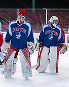 Connor Lacouvee (BU - 30), Nico Lynch (BU - 1) - The Boston University Terriers practiced on the rink at Fenway Park on Friday, January 6, 2017.The Boston University Terriers practiced on the rink at Fenway Park on Friday, January 6, 2017.