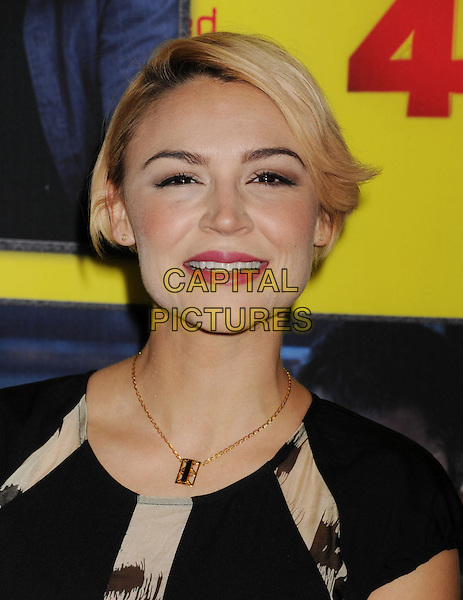 "Samaire Armstrong.arriving at the premiere of ""Movie 43"" at TCL Chinese Theatre in Hollywood, California on January 23, 2013. .portrait headshot smiling gold necklace pink lipstick  black .CAP/ROT/TM.©TM/Roth Stock/Capital Pictures"
