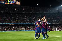 29th October 2019; Camp Nou, Barcelona, Catalonia, Spain; La Liga Football, Barcelona versus Real Valladolid; FC Barcelona celebrating their 5th goal in Camp Nou Stadium - Editorial Use
