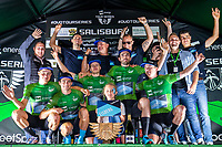 Picture by Alex Whitehead/SWpix.com - 31/05/2018 - Cycling - OVO Energy Tour Series Men's Race - Grand Final: Salisbury - Canyon Eisberg celebrate winning the series.