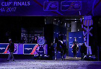 OMAHA, NEBRASKA - MAR 30: Romain Duguet and Leopold Van Asten enter the ring during the awards ceremony for the FEI World Cup Jumping Final I at the CenturyLink Center on March 30, 2017 in Omaha, Nebraska. (Photo by Taylor Pence/Eclipse Sportswire/Getty Images)