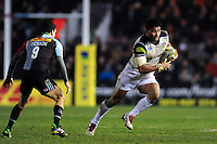 Amanaki Mafi of Bath Rugby goes on the attack. Aviva Premiership match, between Harlequins and Bath Rugby on March 11, 2016 at the Twickenham Stoop in London, England. Photo by: Patrick Khachfe / Onside Images