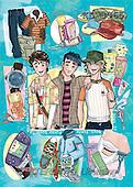 Interlitho, Nino, TEENAGERS, paintings, 3 funny boys(KL3965,#J#) Jugendliche, jóvenes, illustrations, pinturas ,everyday