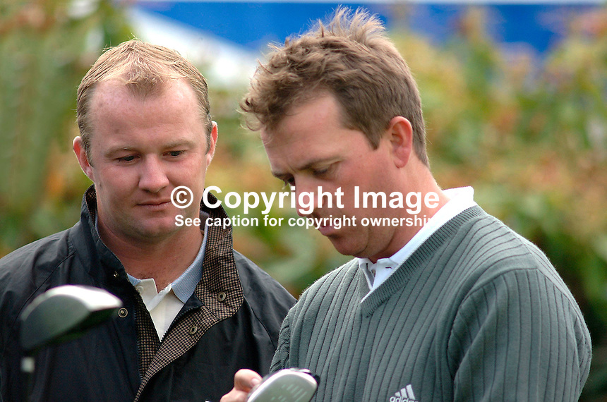 Grant Hamerton (left) and Ian Garbutt, both professional golfers, England. Picture taken during practice for the Smurfit European Golf Champsionship at the K Club, Co Kildare, Rep of Ireland. Ref: 200207025572...Copyright Image from Victor Patterson, 54 Dorchester Park, Belfast, UK, BT9 6RJ..Tel: +44 28 9066 1296.Mob: +44 7802 353836.Voicemail +44 20 8816 7153.Skype: victorpattersonbelfast.Email: victorpatterson@mac.com.Email: victorpatterson@ireland.com (back-up)..IMPORTANT: If you wish to use this image or any other of my images please go to www.victorpatterson.com and click on the Terms & Conditions. Then contact me by email or phone with the reference number(s) of the image(s) concerned.