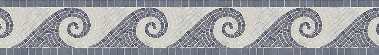 """6"""" Viesta border with 1cm and 2cm tesserae, a hand-cut mosaic shown in polished Bardiglio and Lettuce Ming by New Ravenna."""