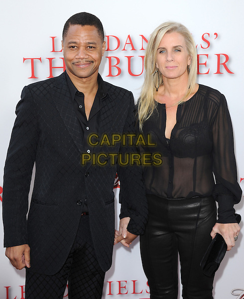 Cuba Gooding Jr. &amp; Sara Kapfer<br /> &quot;Lee Daniels' The Butler&quot; Los Angeles Premiere held at Regal Cinemas L.A. Live, Los Angeles, California, USA.        <br /> August 12th, 2013    <br /> half length blouse sheer see through thru bra holding hands married husband wife leather trousers black suit jacket  <br /> CAP/DVS<br /> &copy;DVS/Capital Pictures