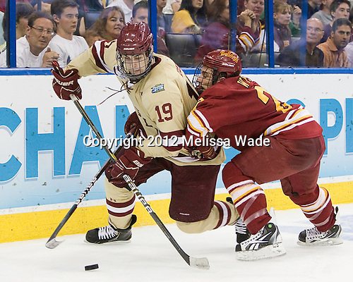 Chris Kreider (BC - 19), Brett Wysopal (FSU - 27) - The Boston College Eagles defeated the Ferris State University Bulldogs 4-1 (EN) in the 2012 Frozen Four final to win the national championship on Saturday, April 7, 2012, at the Tampa Bay Times Forum in Tampa, Florida.