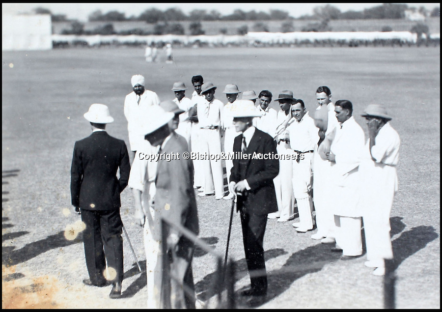 BNPS.co.uk (01202 558833)<br /> Pic: Bishop&MillerAuctioneers/BNPS<br /> <br /> The Viceroy of India talking to Major Brittain Jones, captain of the Delhi & District XI.<br /> <br /> A fascinating album of photographs showing the first England cricket tour of India and the last for controversial 'Bodyline' captain Douglas Jardine has been discovered.<br /> <br /> The rare black and white images show the England star leading the national side at the new cricket ground in Delhi that the colonial British had built in 1933 - the same year as the brutal Ashes series.<br /> <br /> Jardine is featured in many photos as is the Viceroy of India. The album is being sold by auctioneers Bishop and Miller of Suffolk.
