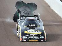 Feb 21, 2015; Chandler, AZ, USA; NHRA funny car driver John Hale during qualifying for the Carquest Nationals at Wild Horse Pass Motorsports Park. Mandatory Credit: Mark J. Rebilas-