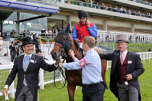 21.06.12 Ascot, Windsor, ENGLAND. Energizer with Adrie de Vries Up Wins The Tercentenary Stakes Cup Ascot Racecourse  Racing Manager Wilhelm Giedt left and team manager Jens Hirschberger Ascot Racecourse
