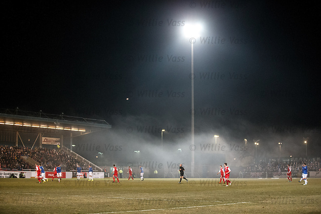 Eerie fog rolling in at Forthbank Stadium during the first half