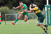 Joe Short fails to charge down Christian Walkers kick. Counties Manukau Premier Club rugby game between Pukekohe and Waiuku, played at Colin Lawrie Fields, Pukekohe on Saturday April 14th, 2018. Pukekohe won the game 35 - 19 after leading 9 - 7 at halftime.<br /> Pukekohe Mitre 10 Mega -Joshua Baverstock, Sione Fifita 3 tries, Cody White 3 conversions, Cody White 3 penalties.<br /> Waiuku Brian James Contracting - Lemeki Tulele, Nathan Millar, Tevta Halafihi tries,  Christian Walker 2 conversions.<br /> Photo by Richard Spranger